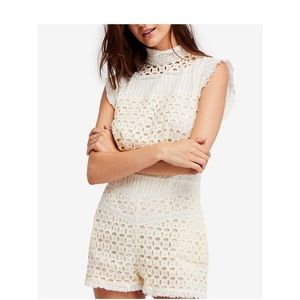 Free People Ivory Lace Romper Size 6 NWT